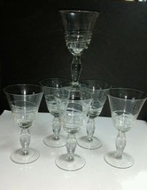 6) Hand Blown Clear Embossed Spiral Twist 12 Oz Water Goblets w/Bulbous ... - $9.36