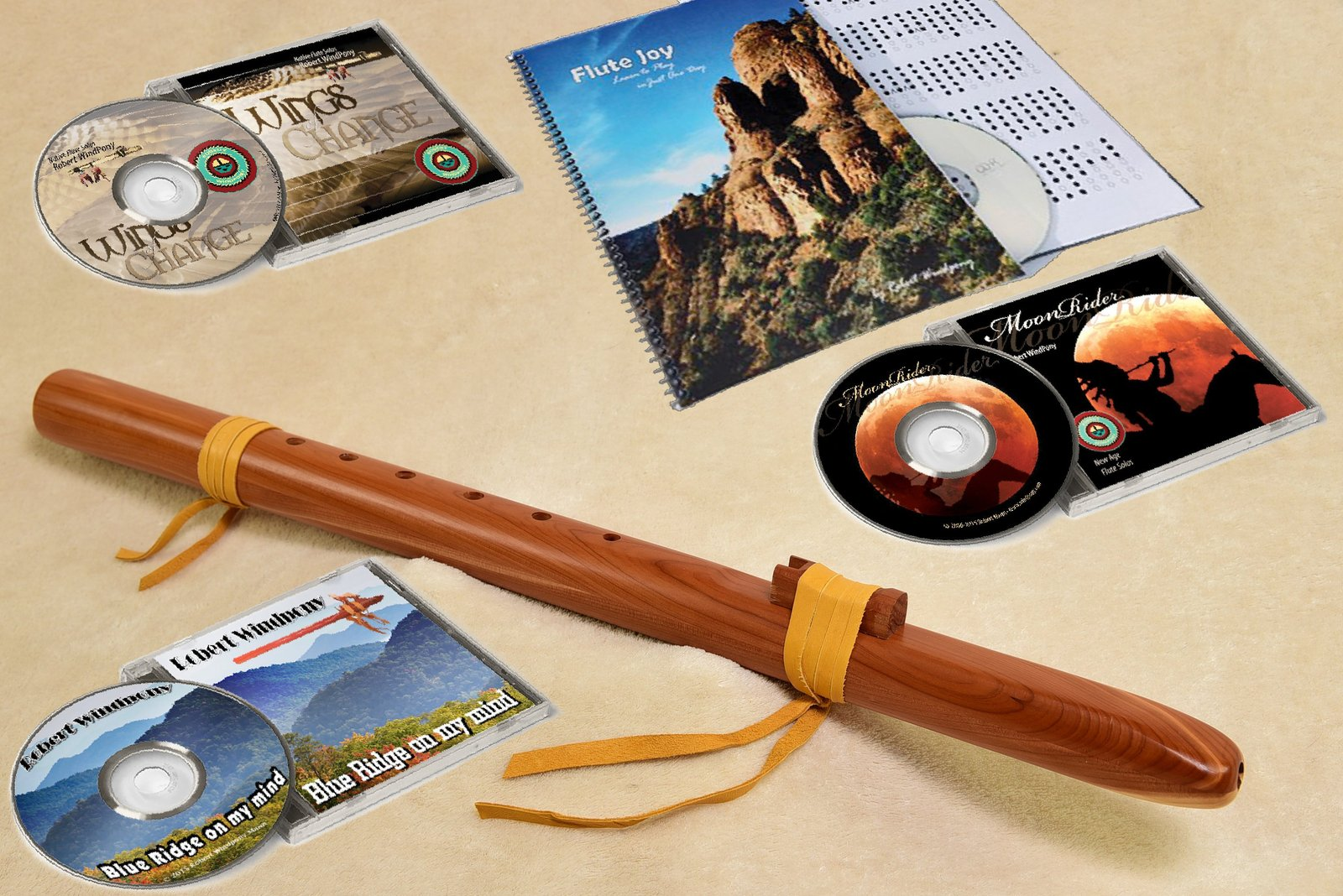 Windpony Cedar Flute in the Key of F# with Instruction Book and 3 Flute CD's