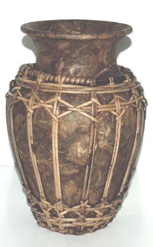 Unbranded Pressed Leaves and Reeds Vase Color Brown Terra Cotta