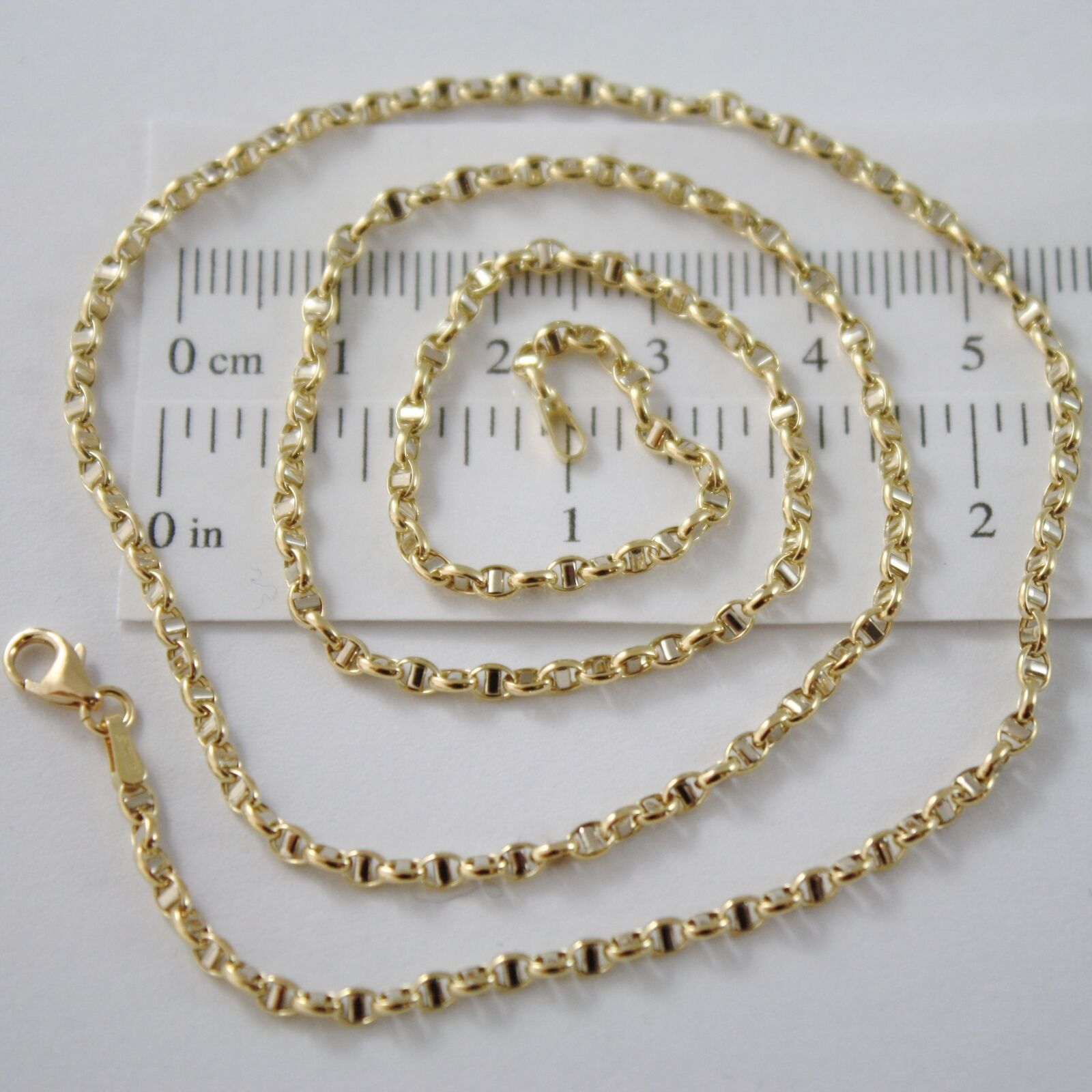 Chain Yellow Gold White 18K Marinara Crosspiece 40 45 50 60 cm Thickness 2.5 MM