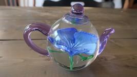 Glass Tea Pot Flower Paperweight Heirloom - Dynasty Gallery Handmade 5 inch - $47.51