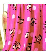 Baby Blanket Soft Mink Fleece by Big 7 Home Pink Monkies Double Sided 40... - $33.66