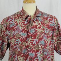 Cooke Street Honolulu Red Palm Leaf Short Sleeve Hawaiian Aloha Shirt Sz... - $23.38