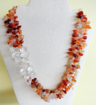 "Mixed Agate Stone and Bead Multi-strand Necklace LOFT 21"" Adjustable - $18.99"