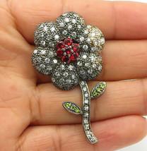925 Sterling Silver - Vintage Topaz Garnet & Peridot Flower Brooch Pin -... - $41.71