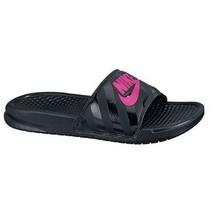 New Nike Banassi JDI Black Vivid Pink 343881-061 Slippers Women - $25.00
