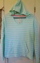 Billabong Women Hoodie Sz S Stripe Green Long Sleeve Pocket Light weight... - $16.00