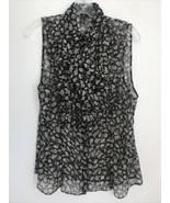 LAUREN Ralph Lauren Size 12 Sheer Floral Ruffle Blouse Sleeveless  - $19.79