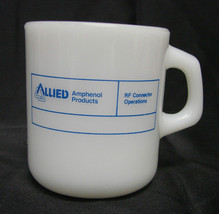 Galaxy Glass Allied Amphenol Products Mug Milk White Opaque Vintage USA - $24.47