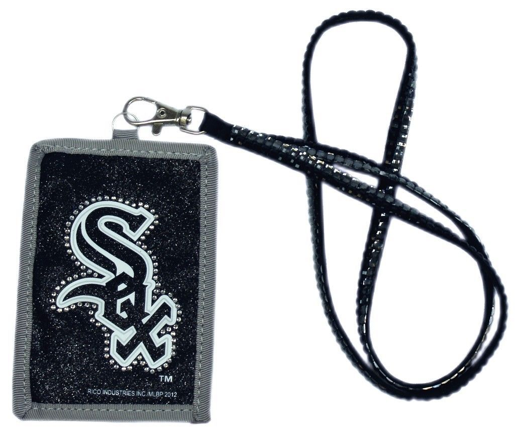 CHICAGO WHITE SOX BEADED RHINESTONE LANYARD ID CREDIT CARD ZIPPER POCKET WALLET
