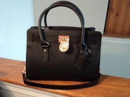 Authentic Michael Kors Hamilton East West EW Satchel Saffiano Leather Bl... - $173.24
