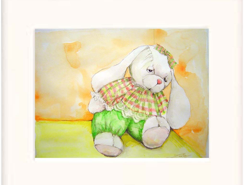 White Toy Rabbit Watercolor/color Pencil - Prints