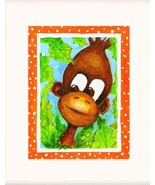 Monkey Hiding in Bush Acrylic on Canvas Board - Pri - $35.00