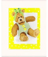 Girl Teddy Bear With Bow Acrylic on Canvas Board - Prints Av - $35.00