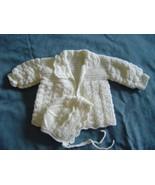 Baby Sweater (White) with Cap (Newborn) - $30.00
