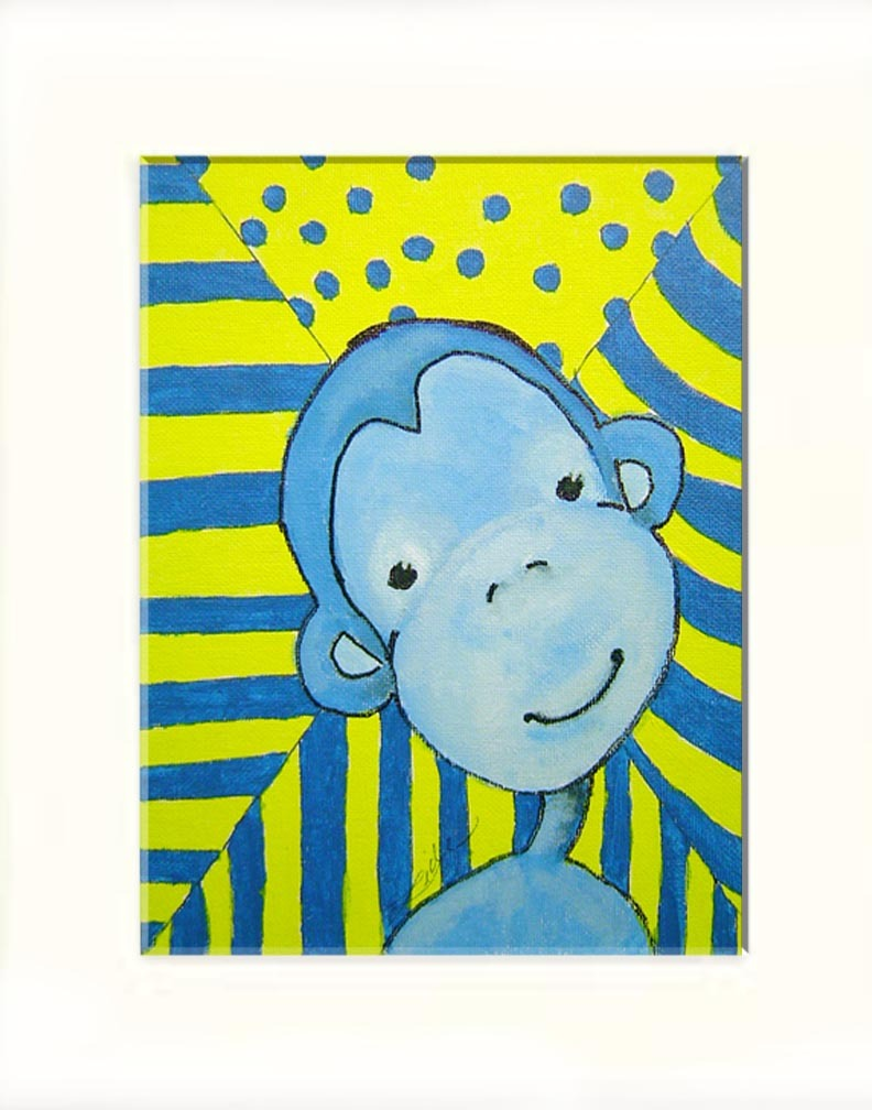 Funky Blue Monkey Acrylic on Canvas Board - Prints Available