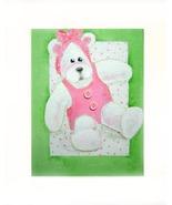 Girl Teddy With Pink Bow Acrylic on Canvas Board - Prints Av - $35.00