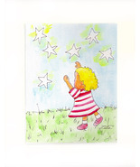 Girl Reaching For The Stars Acrylic on Canvas Board - Prints - $35.00