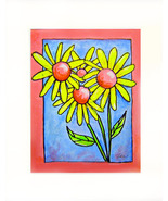 Yellow Flowers with :Pink Boarder Acrylic on Canvas - Prints - $35.00