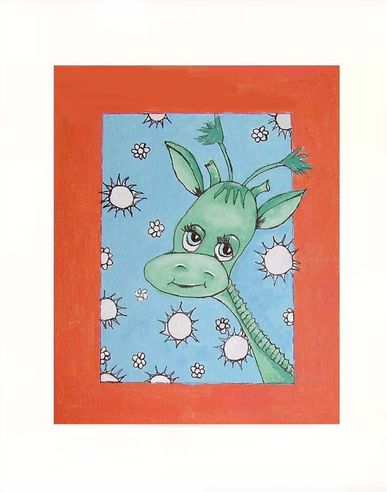 Green Giraffe  Acrylic on Canvas Board - Prints Available 8""