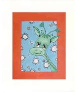 "Green Giraffe  Acrylic on Canvas Board - Prints Available 8"" - $35.00"