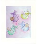 "Babies Floating Watercolor/Color Pencils - Prints  8"" X 10"" - $35.00"
