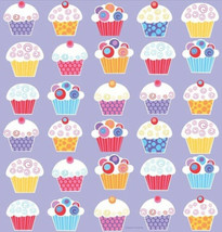 Sweet Cupcake Birthday Party Table cover Tablecloth 48 x 88 Border Print - $2.49