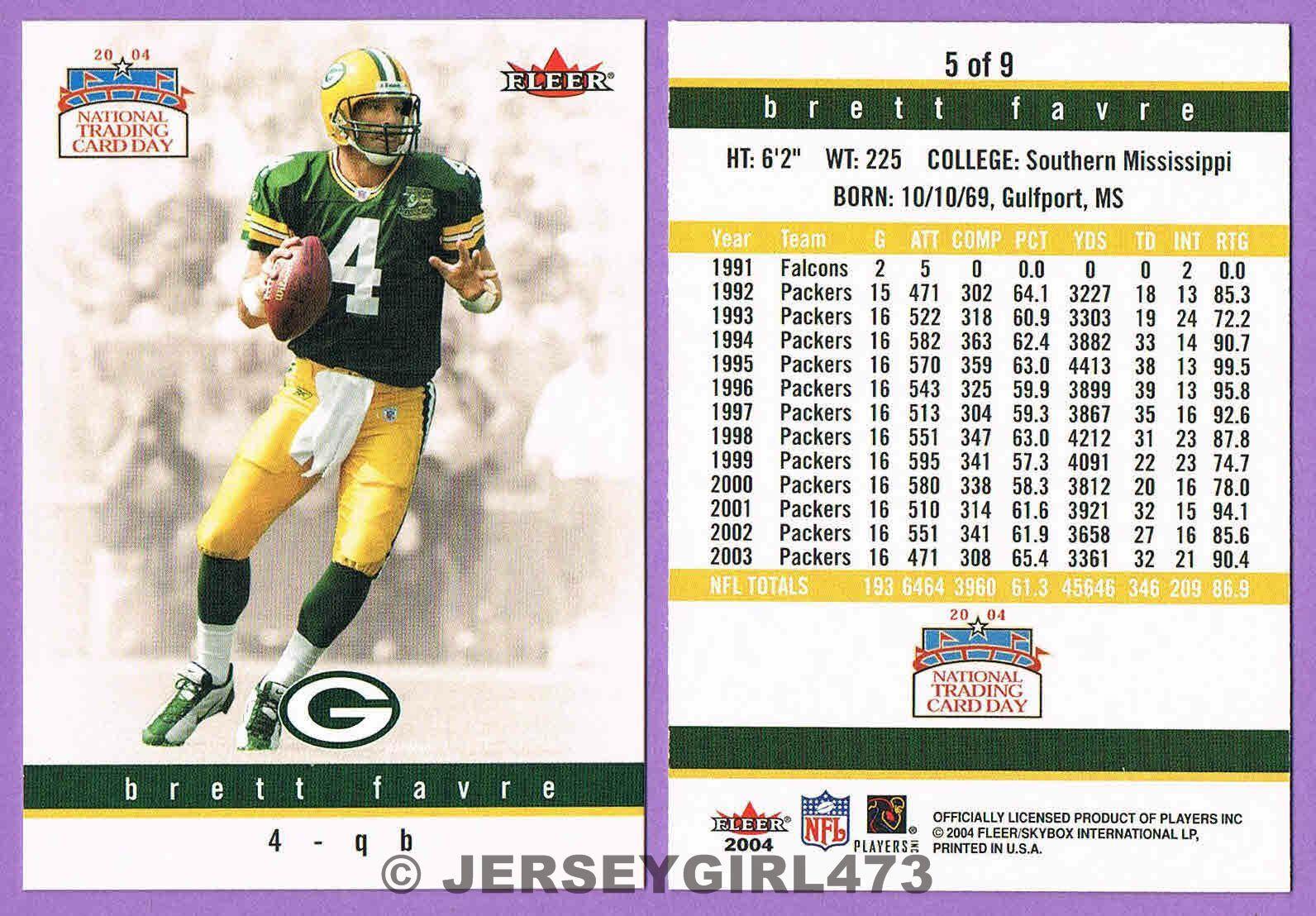 Brett Favre 2004 Fleer National Trading Card Day Packers Football Card #5