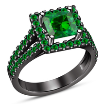 Princess Cut Green Sapphire Black Gold Over 925 Silver Solitaire W/ Acce... - £55.74 GBP