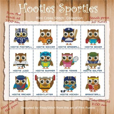 Primary image for Hooties Sporties mini collection cross stitch chart Pinoy Stitch
