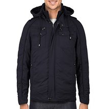 Maximos Men's Hooded Multi Pocket Sherpa Lined Sahara Bomber Jacket (Large, Navy