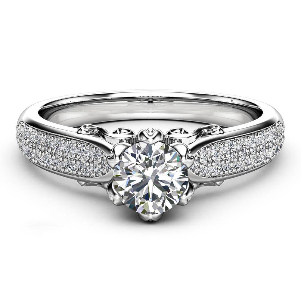 14k White Gold Finish Round Shape Lab-Created Diamond Engagement Ring 925 Silver