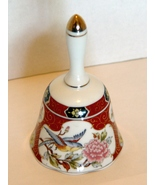 Imari Style  5 Inch Porcelain Bell Hand Pained Gilded Handle Top  - $6.49