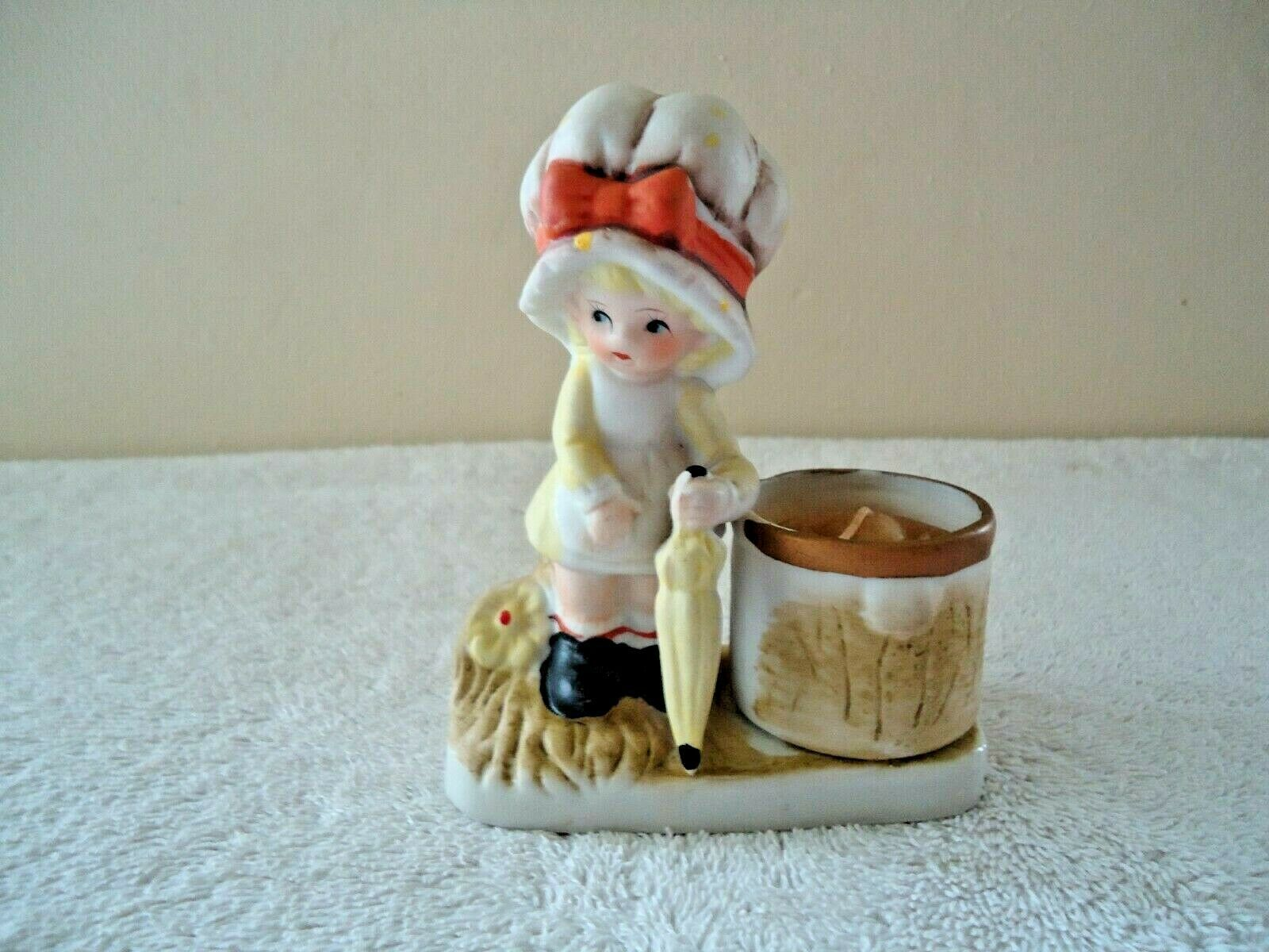 Primary image for Vintage Jasco 1979 Little Luvkins Girl With Umbrella Tea Light Candle Holder