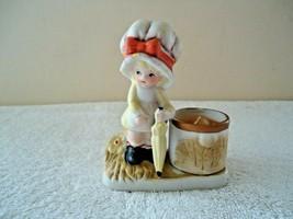 Vintage Jasco 1979 Little Luvkins Girl With Umbrella Tea Light Candle Holder - $19.99
