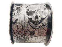 "Momentum Halloween 2.5"" Wire Ribbon, 3 Feet, Black/White, Skulls/Spiders"