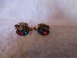c1940 CORO Screwback Earrings Pink Aqua Blue Clear Rhinestones Seed Pear... - $12.00