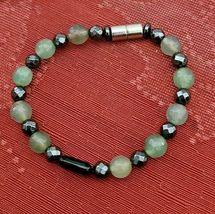 "Hematite & Agate Bracelet Magnetic Hematite Clasp Single Strand 7"" MAG-036 image 4"