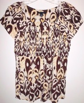 Tommy Hilfiger Shirt Medium Stretch Short Sleeve Tribal Brown Tan Top Women - $12.86