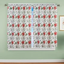 Poinsettia Pattern Window Curtain Panel - $23.66