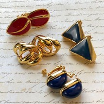 Vintage Lot 4 Signed Napier Clip-On Earrings Gold Knot Triangle Oval Tea... - $39.59