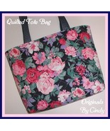 Grandmother's Rose Garden Tote Bag Purse Pouch Roses Navy Pink Quilted M... - $75.00