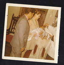 Vintage Antique Photograph Mom & Dad in Church w/ Baby Being Baptized - $5.94
