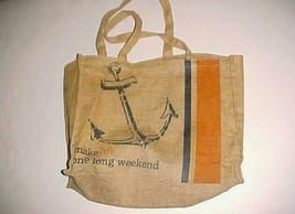 "Tommy Bahama Make Life One Long Weekend Brown Burlap Tote Bag 17"" x 14"" ... - $34.64"