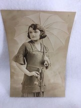 Vintage 1920's Photograph Young Woman Parasol Studio 21465 Professional  - $13.99
