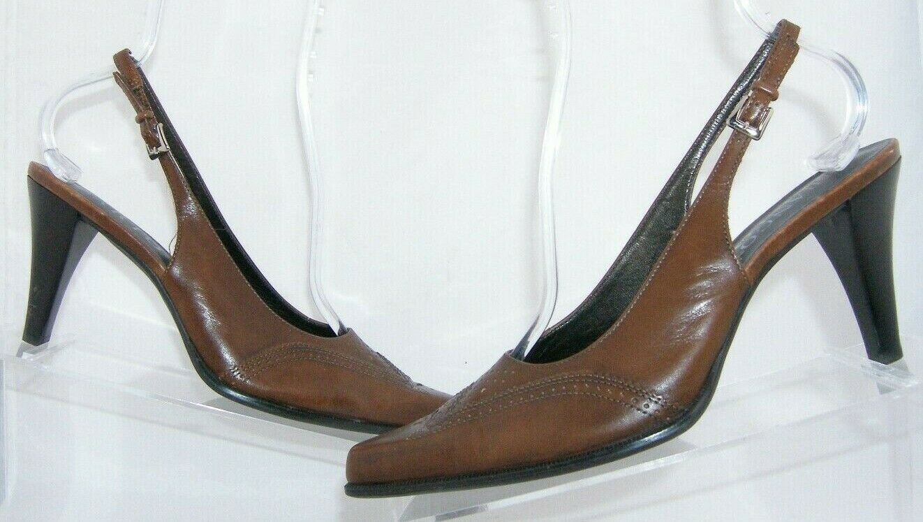 Franco Sarto brown leather pointed oxford brogue buckle slingback heels 7.5M image 2