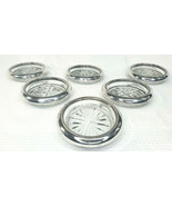Vintage Silver-rimmed glass coasters Set of 6 Made In Italy. - $25.64