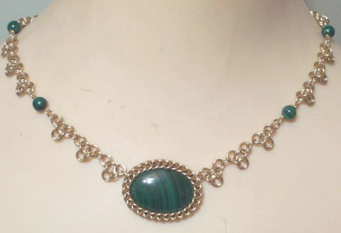 Gold Fill and Malachite Chain Maille Necklace