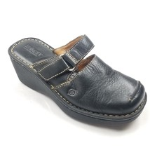 Born Sandals Wedge Leather Black Slides Womens Size 6 36.5 W3871 - $16.39