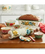 10-Piece Traditional Bakeware Set with Measuring Bowls and Spoons, Rose Patterns - $68.55